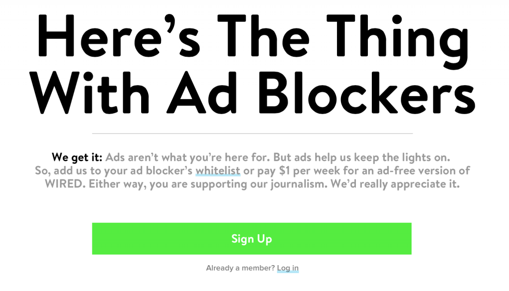 anti-adblocking message from WIRED