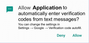 The picture of an Android runtime permission request.